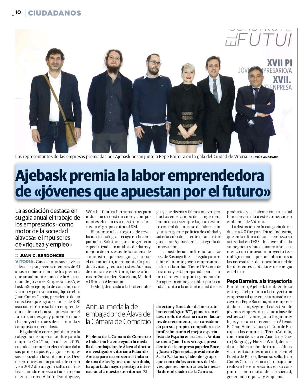 Ajebask reconoce la labor de los jóvenes empresarios/as alaveses más destacados del año